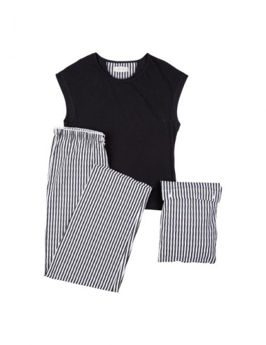 PIJAMA WOMAN ORG. LAWU S19 STRIPES M