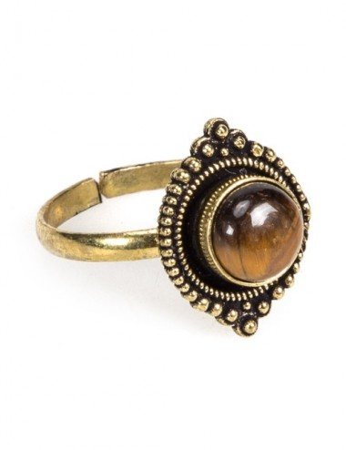 ANILLO ADORNO MARRON LATON AJUSTABLE