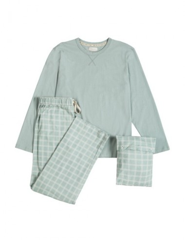PIJAMA MAN ORGANIC IOTA CHECKS GREY M