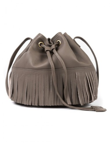 BOLSO PIEL BUCKET COLOR FOSIL