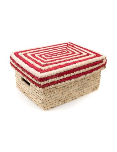 CESTA TAPA RAYAS ROJAS BASE NATURAL38X30