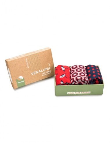 VERALUNA SOCKS GIFTBOX RED PRINTS 41-45