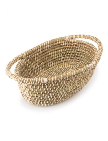 CESTA OVAL KAISA NATURAL E HILO BLANCO