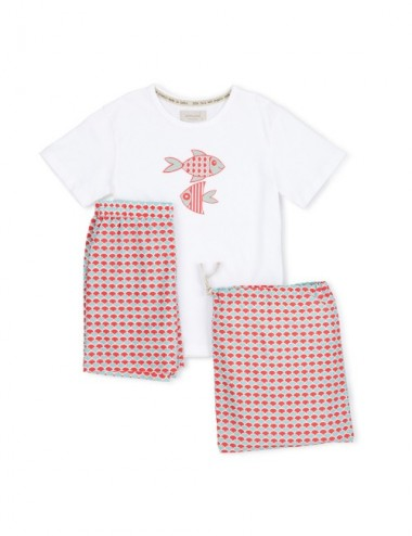 PIJAMA KID ORGANIC SORA RED SCALES 6