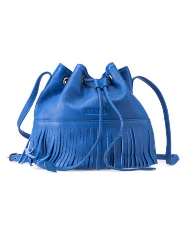 BOLSO PIEL BUCKET COLOR MARINA