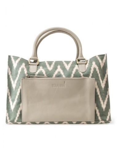BOLSO COURIER CANVAS IKAT LEATHER DETAIL