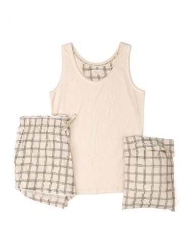 PIJAMA ORGANIC MAE GREY CHECKS SHORT S