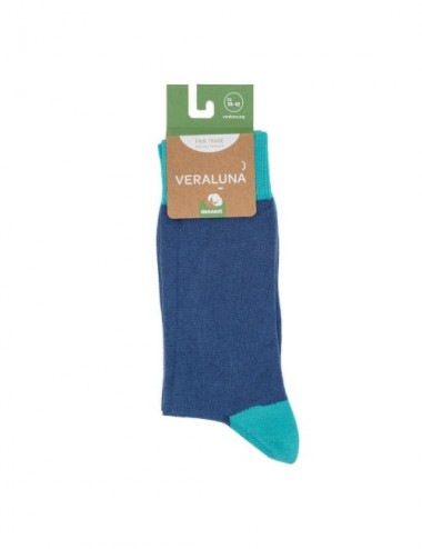 VERALUNA SOCKS BLUE PLAIN 35-38