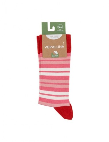 VERALUNA SOCKS PINK RED STRIPES 39-42