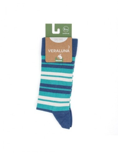 VERALUNA SOCKS BLUE STRIPES 35-38