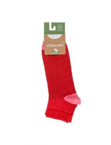 VERALUNA SOCKS PINK RED ANKLE 35-38