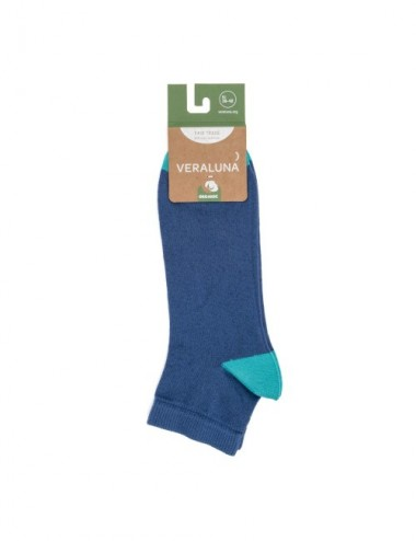 VERALUNA SOCKS BLUE PLAIN ANKLE 35-38