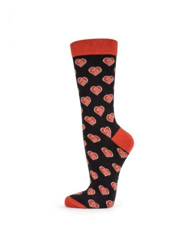 VERALUNA SOCKS HEARTS BLACK 35-38